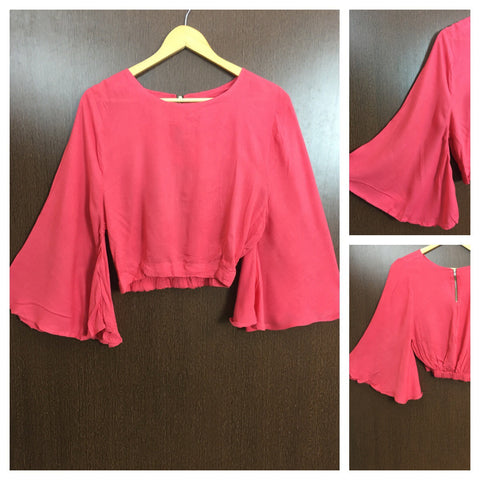 Fitted at Waist - Bell Sleeved Short Top - Pretty Pink
