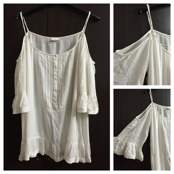 Simple White Cold Shoulder Top.