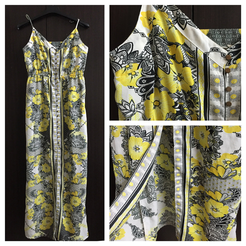 Yellow Floral Long Maxi Dress