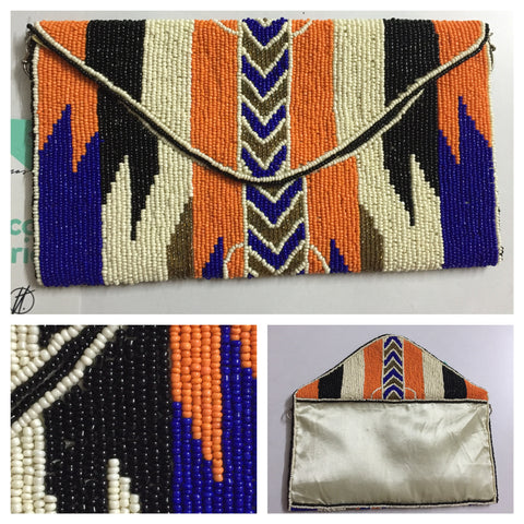 Beads & Sequins - Orange-Blue-Cream Clutch - #FTFY - For The Fun Years
