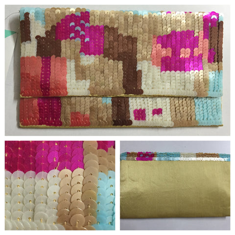 Beads & Sequins - Pretty Pink-Blue-Brown Clutch - #FTFY - For The Fun Years