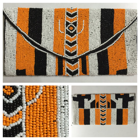 Beads & Sequins - Orange-Black-White Clutch - #FTFY - For The Fun Years