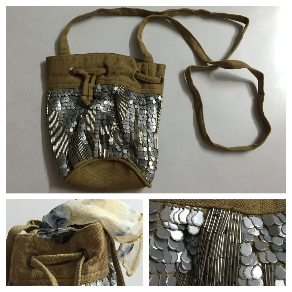 Beads & Sequins - Grey and Brown Pouch - #FTFY - For The Fun Years