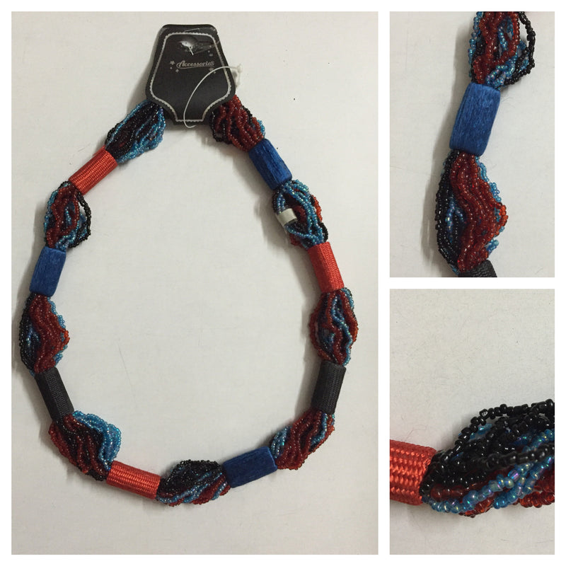 Blue-Red-Black multiple layers beaded neckpiece - #FTFY - For The Fun Years