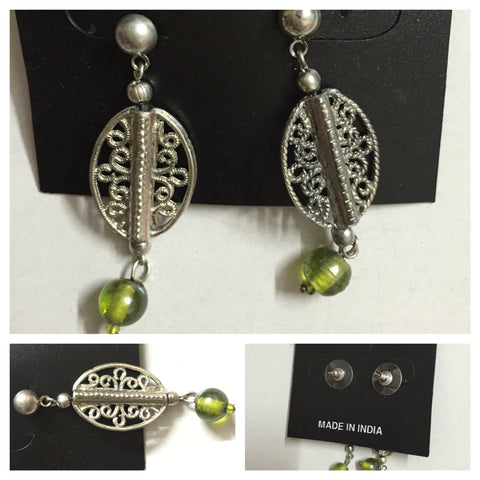 Silver Mashed Green Dangling earrings