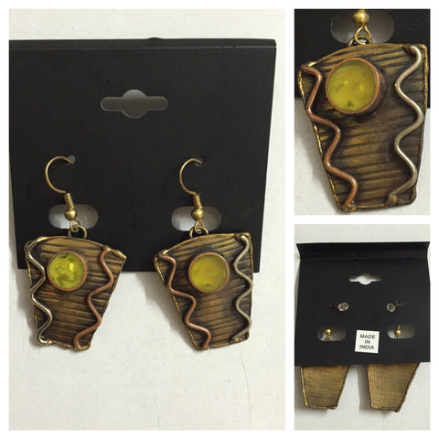 Green & Bronze Tribal Design Earrings