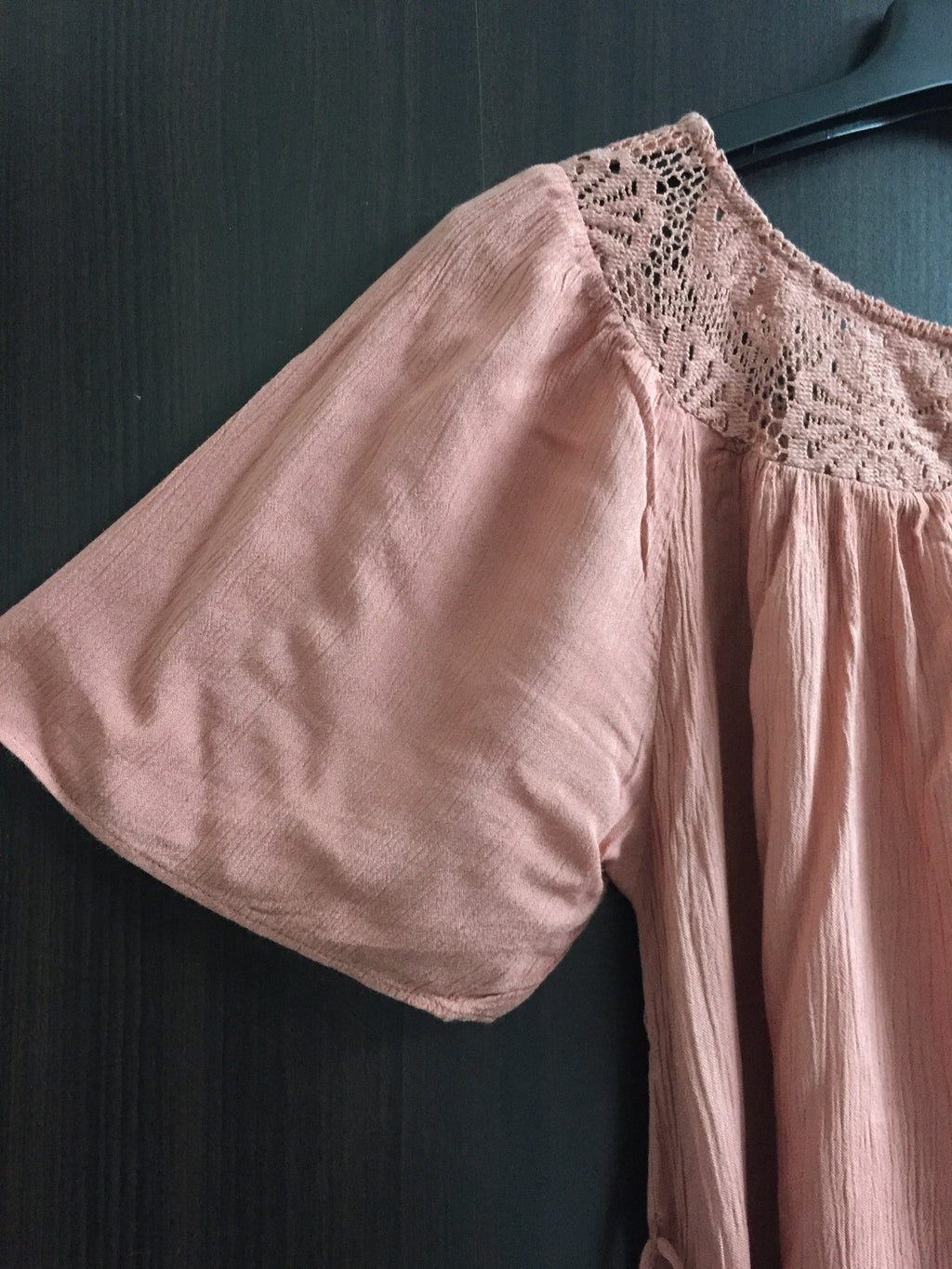 Pretty Peach Top with Lace on Neck
