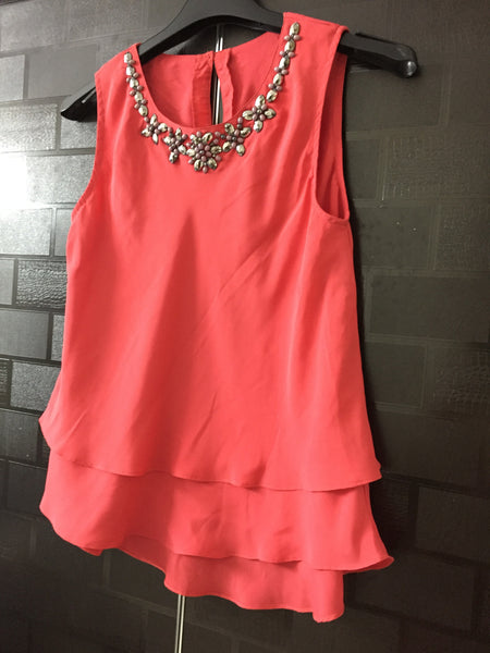 Pretty Candy Red Studded Sleeveless Top