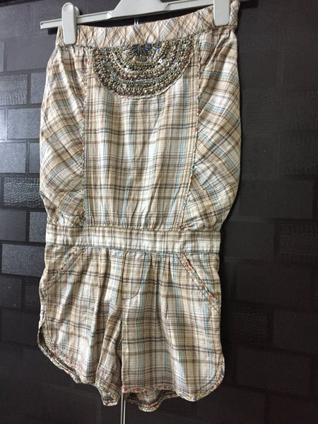 Checks - Brown Green Tube - Jumpsuit with Pretty Sequins on front.