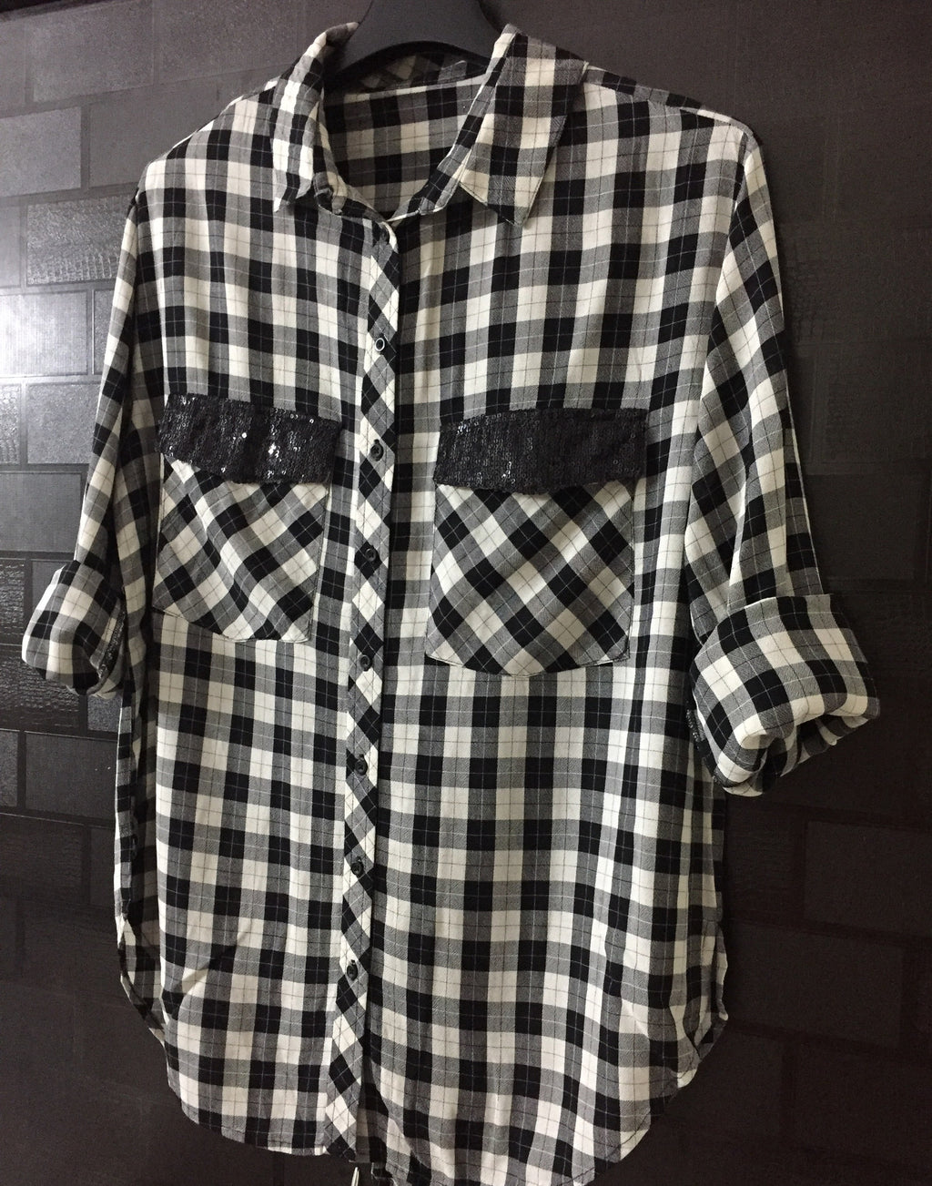 Anti - Fit - Checks - Black Cream and Grey Checked Shirt with Sequins on pockets