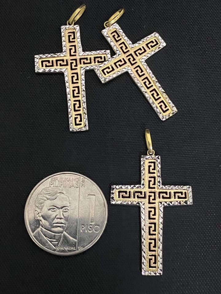 Cross Pendant 18K Gold, Two-tone, Branded Inspired Cut-Out Design with White Border