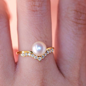 Pearl Diamond Bridal V-Shaped Wedding Ring / Women's Stacking Ring
