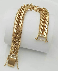 18K Gold Curved Link Chain Bracelet 81815 - ZNZ Jewelry Philippines