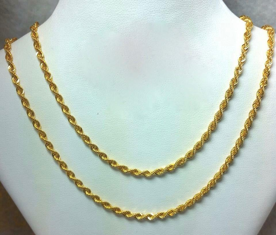 21K Gold Rope Necklace 104718 - ZNZ Jewelry Philippines