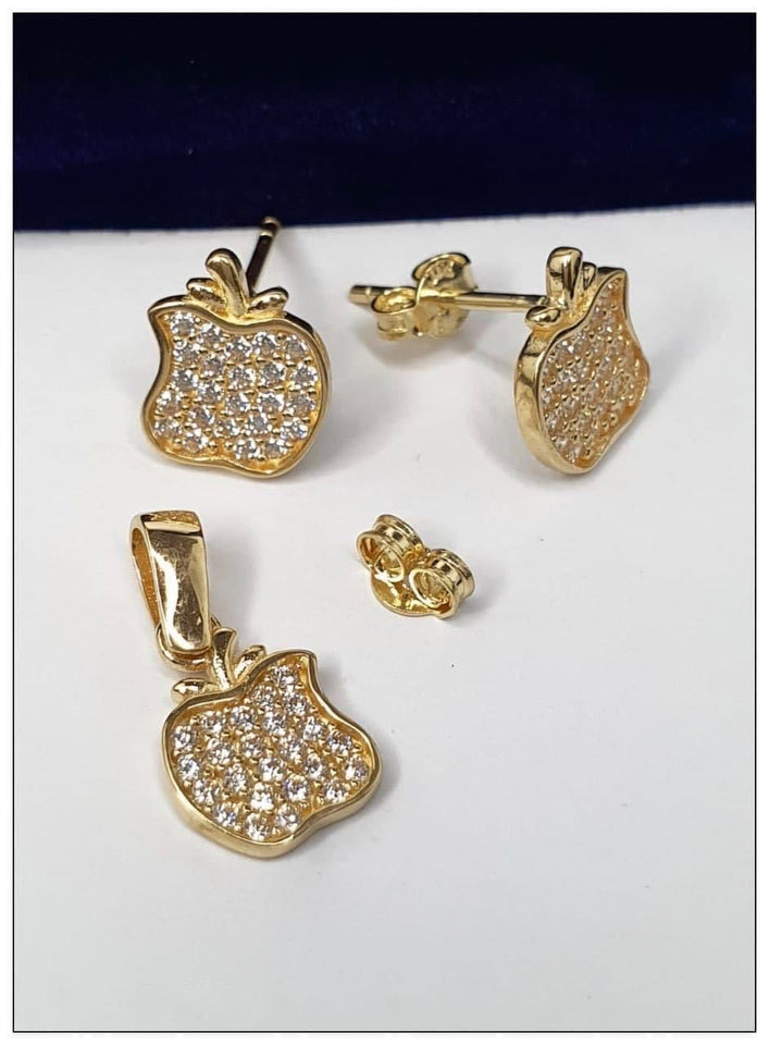 Apple Studded Jewelry Set in 18K Gold 21jntt11 - ZNZ Jewelry Philippines