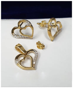Heart Jewelry Set in 18K Gold 21jntt14 - ZNZ Jewelry Philippines