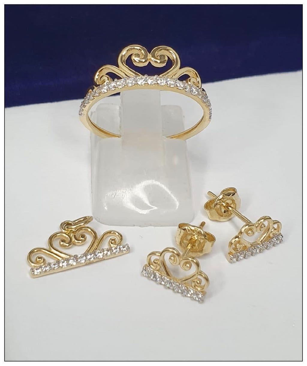 Crown Jewelry Set in 18K Gold 21jntt18 - ZNZ Jewelry Philippines