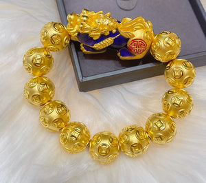 24K Piyao Changing Color Money Catcher with 16mm Money Balls Men's Bracelet
