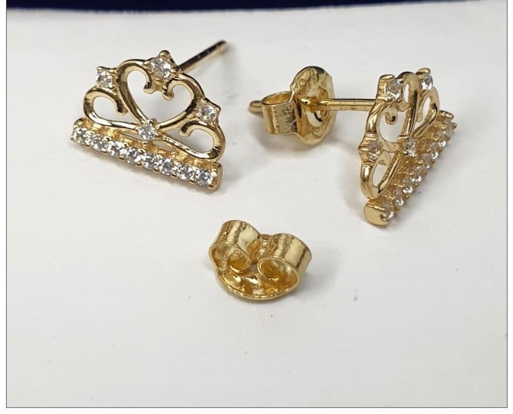 Crown Earrings 18K Gold 25jn55 - ZNZ Jewelry Philippines