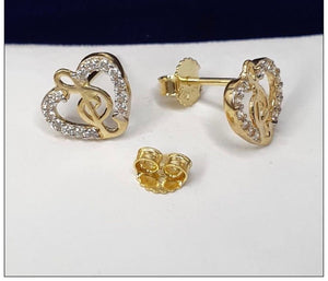 Heart-Music Earrings 18K Gold 25jn59 - ZNZ Jewelry Philippines