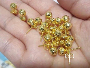 Ball Stud Earrings 18K Gold 25jn8 - ZNZ Jewelry Philippines