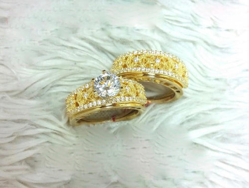 Bridal Engagement Ring Set 18K Gold 81818 - ZNZ Jewelry Philippines