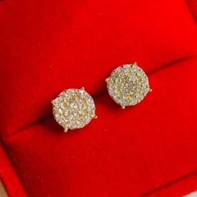 .50ctw Round Illusion Diamond Earrings 18K Yellow Gold