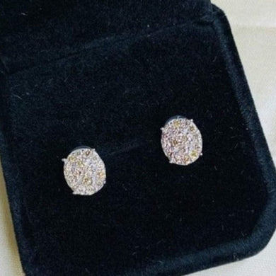.60ctw Oval Illusion Diamond Earrings 18K White Gold