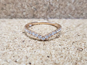 PIPER .26 Ct Half Eternity Diamond Ladies' Ring, V-Shaped, Yellow Gold, White Gold or Rose Gold - ZNZ Jewelry Philippines