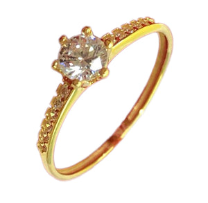 AURELIE 18K Gold Engagement Ring, 6 Prongs, Paved Band - ZNZ Jewelry Philippines