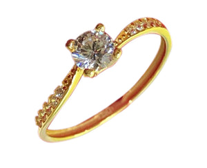 DAISY Engagement Ring 18K Gold with Side Stones - ZNZ Jewelry Philippines