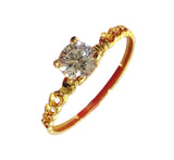 HARLEY Engagement Ring 18K Gold Solitaire Chain Band - ZNZ Jewelry Philippines