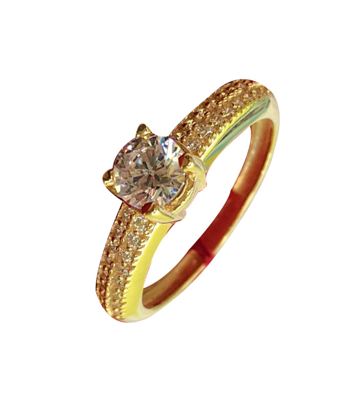CORRINE Engagement Ring 18K Gold Paved Band - ZNZ Jewelry Philippines