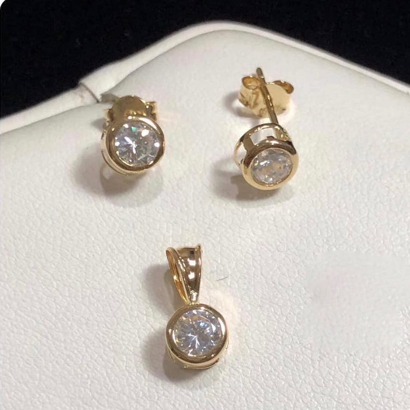 Round Stud Jewelry Set in 18K Gold 4tt4 - ZNZ Jewelry Philippines