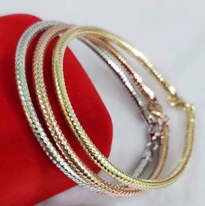 3-Piece Tricolor 18K Gold Soft Bangle JTT30 - ZNZ Jewelry Philippines