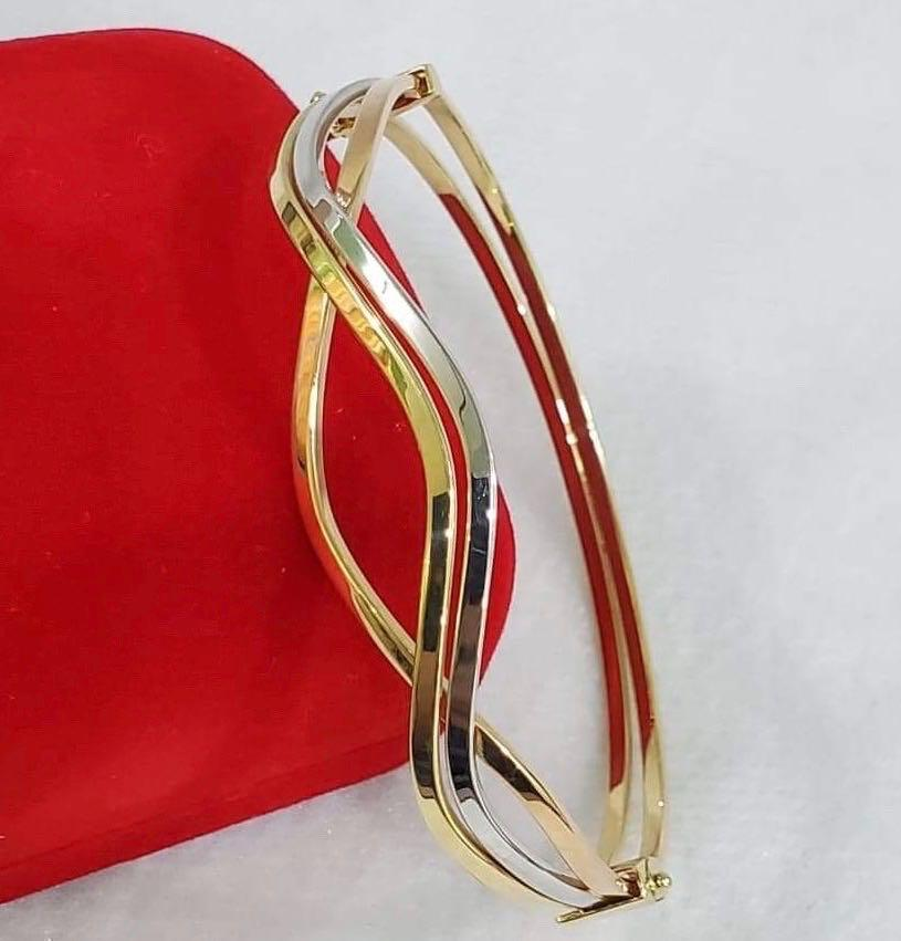 18K Two-Tone Gold Bangle JTT34 - ZNZ Jewelry Philippines