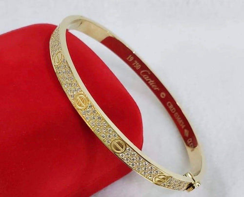 18K Gold Studded Love Bangle JTT47 - ZNZ Jewelry Philippines
