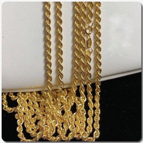 18K Gold Rope Chain Necklace ftt9 - ZNZ Jewelry Philippines