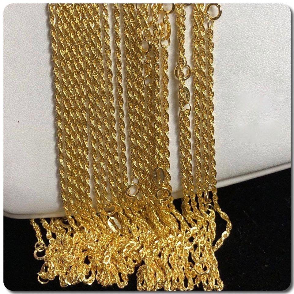 18K Gold Rope Chain Necklace ftt10 - ZNZ Jewelry Philippines