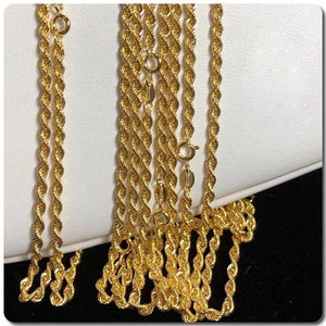 18K Gold Rope Chain Necklace ftt11 - ZNZ Jewelry Philippines