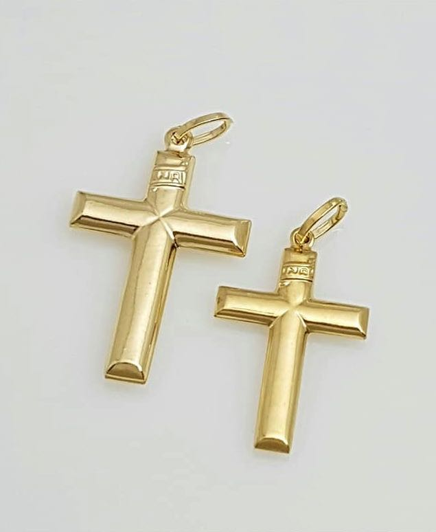 GABRIEL Cross Pendant in 18K Gold, with INRI, Small or Medium, 1 pc only - ZNZ Jewelry Philippines