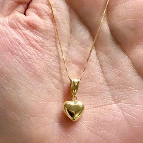 MADELYN Simple Classic Heart Necklace 18K Gold with Box Chain, 20