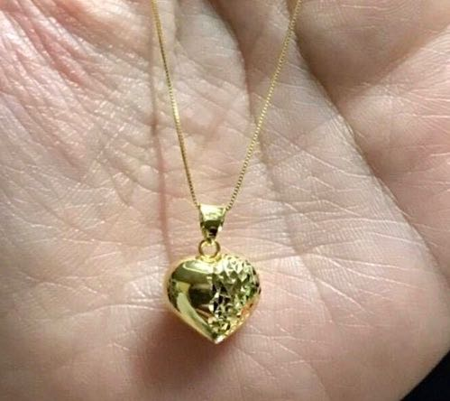 MAYA Heart Necklace 18K Gold with Box Chain, Puffy, Half Shiny, 20