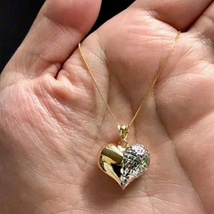 "GABRIELLA Heart Necklace 18K Gold with Box Chain, Two-Tone, 20"", 18"", or 16"" - ZNZ Jewelry Philippines"