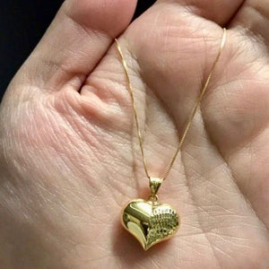 "WILLOW Classic Heart Necklace 18K Gold with Box Chain, 20"", 18"", or 16"" - ZNZ Jewelry Philippines"