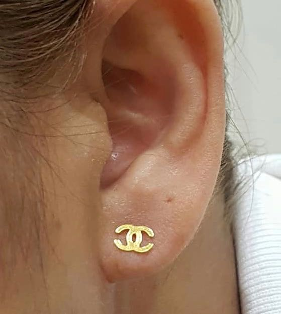 18K Yellow Gold Stud Earrings 9194 - ZNZ Jewelry Philippines