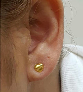 18K Yellow Gold Stud Earrings Heart 9196 - ZNZ Jewelry Philippines