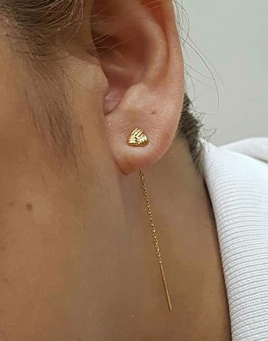 18K Yellow Gold Tictac Earrings 91911 - ZNZ Jewelry Philippines