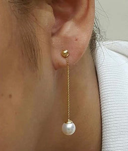 18K Yellow Gold Pearl Tictac Earrings 91914 - ZNZ Jewelry Philippines
