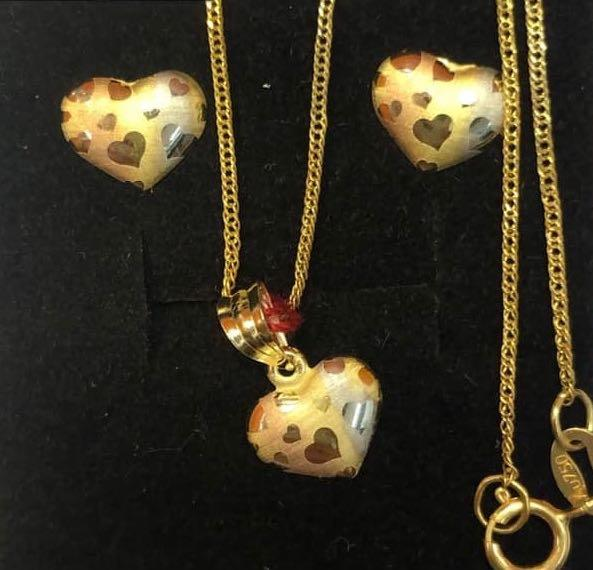 Heart Jewelry Set in 18K Gold ntt3 - ZNZ Jewelry Philippines